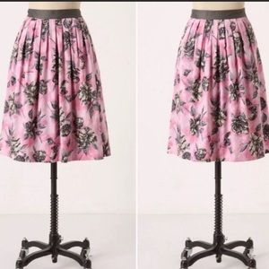 ANTHROPOLGIE Odille pink floral pleated skirt 10